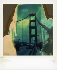 Golden Gate Bridge 4 (tobysx70) Tags: polaroid sx70 timezero time zero tz expired instant film 0404 golden gate bridge san francisco california ca tower suspension pedestrian traffic cars divot polavacation 042818 toby hancock photography
