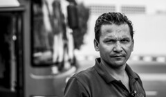The Bus Driver (PinoyOpsJawo) Tags: work job mono monochrome blackandwhite bw bus car road people face portrait nikonphotography nikon nikond5300 niftyfifty 50mm streetphotography street nonhdr