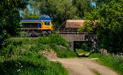 66714 (Peter Leigh50) Tags: class 66 shed lane bridge train railway railroad road rail trees gbrf fujifilm fuji xt10 west langton kibworth
