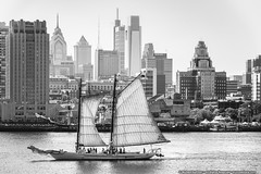 A.J. Meerwald (mhoffman1) Tags: ajmeerwald camden camdenwaterfront delawareriver pennslanding philadelphia philly sonyalpha tallshipsf a7riii blackandwhite boat monochrome sails schooner ships