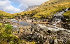 Glen Etive (Ulmi81) Tags: scotland landscape river water flowing rocks rock waterfall rainbow glen etive valley hills mountains autumn oktober warm slope great britain europe wilderness
