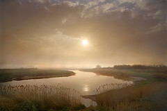 Another Peaceful Morning (adrians_art) Tags: sunrise marshes rivers water reeds riverbank plants hightide reflections sky clouds misty foggy silhouettes shadows uk england