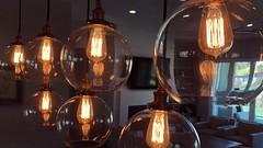 the night the electric jellies came to dinner (killyourcar) Tags: analog iphone8 warm yellowlight yellow glow reflection design contemporary oldschool vintage retro oldfashioned suspended electric incandescent glassglobes glass pendantlights diningroom lightbulbs bulbs lights hanginglights