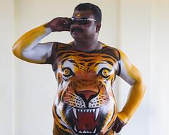 Tiger Dance Festival (Sharpshooter Alex) Tags: pulikali mobile cellphone tiger dance festival man male painted body torso india indian culture travel onam kerala