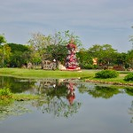 Lake and garden in Muang Boran open air museum in Samut Phrakan near Bangkok, Thailand thumbnail