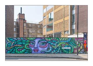 Street Art (Amara Por Dios, Mowscodelico), East London, England.