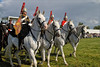 Trumpeter's Greys (meniscuslens) Tags: musical ride household cavalry military horse trumpeter field grass sky cloud bucks county show buckinghamshire weedon aylesbury