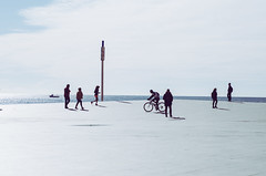 People of Barcelona (robertkowalski91) Tags: people barcelona beach sea sign sky clouds bicycle march spring