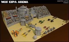 Star Wars: Mos Espa Arena (thire5) Tags: star wars indoor base lego desert podracer podracers race anakin skywalker quigon jinn padme amidala sebulba watto jabba hutt r2d2 c3po kostkyorg