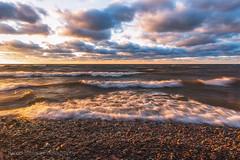 Golden Waves (Kevin Pihlaja) Tags: waves lakesuperior greatlakes keweenaw upperpeninsula michigan mclainstatepark clouds wind landscape nature water lake rocks shore