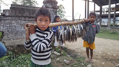 Children selling fish at Kaung Hien Village Myanmar