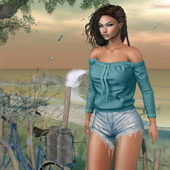 Kimmy (LѺҠЄLѦИИі ԀіՏՏЄү) Tags: hair nomatch ~ nosugar essentials cosmopolitan head catwa catya skin letre shop momo sandy tone lipstick aurealis metalized shade 5 necklaces amias orit 3 sweatshirt tetra kimmy offshoulder c88 short villena ripped denim shorts light blue