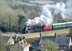 31806 leaving Corfe Castle. (johncheckley) Tags: d90 uksteam loco train railway houses