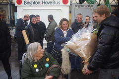 Picket Line Flowers (brightondj - getting the most from a cheap compact) Tags: 2016 2016december flowers strike rmt picket disabled politics protest 2010s brightonstation tradeunions