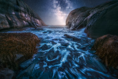 The Channel (lonekheir) Tags: norge norway ocean water archipelago night stars milkyway galaxy rocks