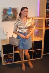 Summer Girl (Rikky_Satin) Tags: silk satin blouse denim skirt pumps handbag crossdresser transvestite transgender tgirl tgurl gurl transformation mtf
