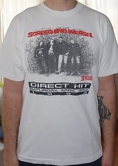 #3016A Screeching Weasel - Direct Hit 1993 with the Queers (Minor Thread) Tags: minorthread tshirtwars tshirt shirt vintage rock concert tour merch white punk screechingweasel queers directhit 1993 saturday april3rd chicago lookout records