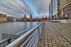 Berlin - Oberbaum Bridge. (sanzios) Tags: berlin germany niemcy oberbaumbrücke sprewa longexposure deutschland river travel traveler citylife city europe capital famous urban cityscapes cityscape tourist