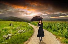 Provident (Jean-Michel Priaux) Tags: girl female wait way road waiting photoshop painting paint paintingmatte paintmapping mattepainting sky lonesome lonely alone parapluie umbrella