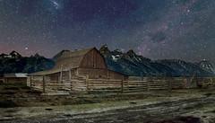 T. A. Moulton Barn (Lake Vermilion1) Tags: barn moultonbarn wyoming farm iconic landmark mormonrow antelopeflats historic grandtetonnationalpark tetons night stars milkyway scenic lightpainting mountians nikon rural craigvoth nikond810 gitzo reallyrightstuff