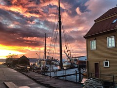 Night sky (halifaxlight) Tags: norway hordaland bergen fjord boats fisheriesmuseum sheds sky sunset ropes flickrsbest