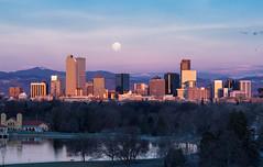 Denver, Rockies, Full Moon (bigvern) Tags: bigvern canon 7dii denver colorado mountains rockies rockymonutains water night moon fullmoon sunrise