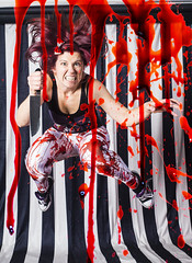 Day 4090 (evaxebra) Tags: wh wah blood bloody stripes digital manipulation red blackmilk leggings knife friday 13th thirteenth ewa black white