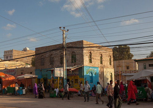 Busy street in the town, Woqooyi Galbeed region, Hargeisa, Somaliland