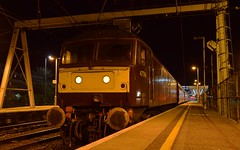 West Coast 47746 'Chris Fudge' arrives back at Ipswich, with the Cathedral Express Tour from Salisbury, with 47804 on the rear. 05 04 2018 (pnb511) Tags: trains railway ipswich greateasternmainline geml traction loco locomotive diesel class47 wcr westcoastrail dark night gantry station platform