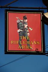 Pub sign for the Rifleman's Arms, Belper. (Peter Anthony Gorman) Tags: riflemanpub belper derbypubs pubsigns