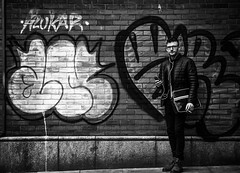 People say graffiti is ugly, irresponsible and childish... but that's only if it's done properly.-Banksy- (Lorrainemorris) Tags: blackandwhite graffitiartists ireland dublin batis zeiss sony7rm2 streetart art urban music man candid streetphotography monochrome mono graffiti banksy