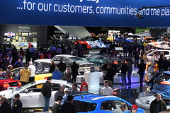 Bullitt Mustangs and the Ford display floor -- 2018 North American International Auto Show (Corvair Owner) Tags: north american international auto show detroit michigan mi mich new car display automobile truck suv crossover manufacturer january 2018 cobo arena hall center winter ford mustang bullitt 1968 2019