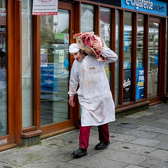 Man delivering meat to butchers shop Carmarthen Market. (James- Burke) Tags: man carmarthen wales butcher meat carcase delivery markets carmarthenmarket westwales