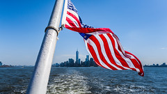 New York. (Oleg.A) Tags: usa newyork landscape manhattan nature water city cityscape panorama midday viewpoint summer colorful blue megalopolis island sky park sunny libertyisland architecture outdoor nyc america landscapes noon outdoors town