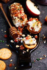 HONEY, APRICOT, AND ALMOND GOAT CHEESE SPREAD.selective focus (Zoryanchik) Tags: mini cheese white green food balls background closeup traditional dairy small healthy appetizer plate meal delicious snack ball honey apricot almond goatcheese spread