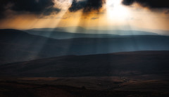 To the horizon (scamart1st) Tags: processed layers beams ligh sun sky mountains hills wales uk brecon beacons pen y fan 50mm landscape light