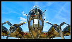 Aviation Day 2018 - 03 (J Michael Hamon) Tags: b17 flyingfortress bomber plane airplane aircraft wwii airport runway columbusindiana bak bakalar columbusmunicipalairport bartholomewcounty aviationday june outdoor pov hamon nikon sigma 1020mm photoborder sky propeller turret indiana vintage yankeelady