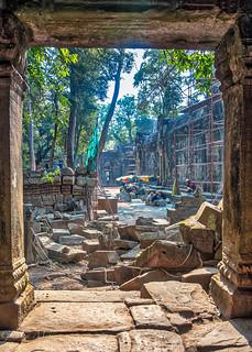 Cambodia, Restoration of Ta Prohm Temple.