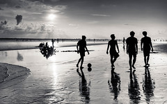 beach (andrewlance photography) Tags: leicaimages 28mm asph bali elmaritm indonesia lr4 legian leica lightroom4 m8 silverefexpro2 bw ball beach blackandwhite blackwhite boys clouds contrejour cool f28 kids monocrome myflickr ocean people portrait sand saunter sea silhouette sky stroll sunset walk water waves
