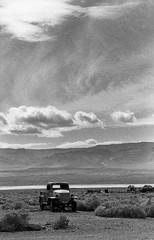 Charles Manson's truck, Ballarat CA (carlfieler) Tags: ballarat deathvaller deathvalley desert california truck canona1 canonfd fd55mm12 35mm 35mmfilm analog monohrome monochromefilm