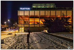Teatteri (ViTaRu) Tags: turku southwestfinland finland fi canon 6d 35f14l theater building windows night nightshot nighttime nightlights evening dark snow ice frost winter frozen trees sign cars spotlight mood orange city varsinaissuomi