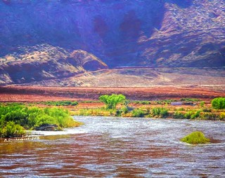 The Colorado River just north of town, Moab Utah