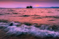 sunset 3817 (junjiaoyama) Tags: japan sunset sky light cloud weather landscape pink purple color lake island sun water nature spring wave