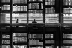Selfie with books and stranger ([J Z A] Photography) Tags: kiev4 britishlibrary london camden uk colinstjohnwilson rodinal125 ilford delta400 analog 35mm bw jzaphotography monochrome stpancras attreecouk filmisnotdead grainisgood ishootfilm jzaphotographycouk books reflection mono selfie