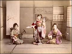 Dancing With a Fan (ookami_dou) Tags: vintage japan handcolored albumen dance geisha fan shamisen 三味線 kimono 着物