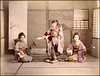 Dancing With a Fan (ookami_dou) Tags: vintage japan handcolored albumen dance geisha fan shamisen 三味線 kimono 着物