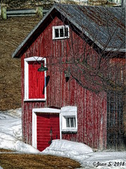 Rural life (Jean S..) Tags: barn old rural snow doors windows red white grass green