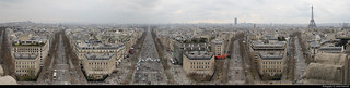 Panoramic view from Arc de Triomphe, Paris, France