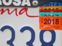 DSC03008 (classroomcamera) Tags: california state license plate plates licenses states registration registrations 338 santa rosa 2018 sticker stickers year years color colors rainbow rainbows layer layers layering layered number numbers id identification white blue red orange