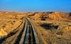 Route of phosphate, Tunisia (rolfstumpf) Tags: tunisia seldja sahara rails tracks landscape evening fujichrome metergauge narrowgauge sncft
